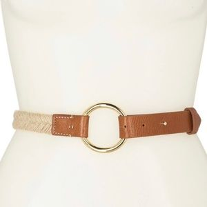 Tommy Bahama Luxie Jute & Leather Belt NWT